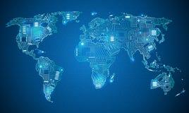 De technologiestijl van de wereldkaart Royalty-vrije Stock Foto's