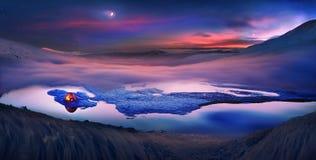 De toeristen brengen nacht aan het ijs door Stock Foto's