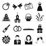 De vector geplaatste pictogrammen van het huwelijk Stock Afbeeldingen
