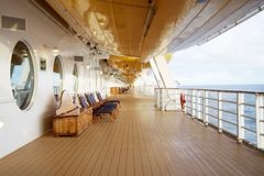 Deck chairs on a cruise ship Stock Photo