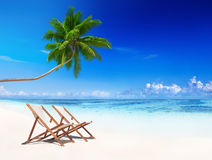 Deck Chairs Tropical Beach Summer Relax Vacation Concept Royalty Free Stock Image