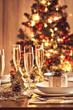 Decorated christmas dining table Stock Photos