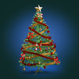 Decorated Christmas tree on dark blue background Stock Photography