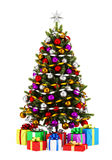 Decorated christmas tree with gift boxes isolated on white Stock Photos