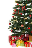 Decorated christmas tree with gifts on white background, close up Royalty Free Stock Photo