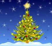 Decorated Christmas Tree Night Royalty Free Stock Photography