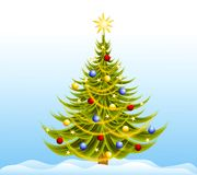Decorated Christmas Tree Snow Stock Photography
