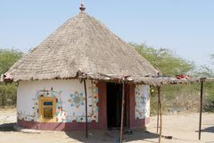 Decorated hut, India, Gujarat Royalty Free Stock Photos