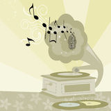 Decorated vintage gramophone Royalty Free Stock Image