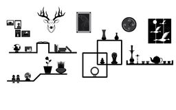 Decoration on Shelf and Wall Royalty Free Stock Image
