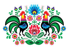 Polish floral embroidery with cocks - traditional folk pattern Stock Photo