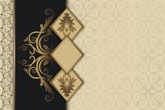 Dekorativer Weinlesehintergrund mit Goldrahmen Lizenzfreies Stockbild