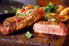 Delicious portion of medium rare beef steak Stock Photo