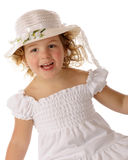 Delighted in a White Easter Bonnet Stock Photography