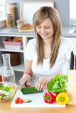 Delighted woman preparing a healthy meal Royalty Free Stock Photography