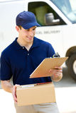 Delivery: Man with Delivery Van Behind Stock Photos