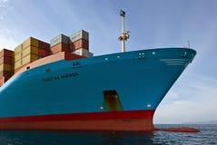 Der Bogen eines enormen Containerschiffs Cornelia Maersk an verankert in den Straßen Primorsky Krai Ost (Japan-) Meer 17 09 2015 Lizenzfreies Stockbild