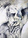 Desenho de um homem que fuma um cigarro Fotos de Stock