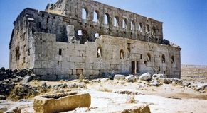 Desert church ruins syria Stock Photography