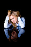 Desire and flirt concept, attractive female Royalty Free Stock Photography