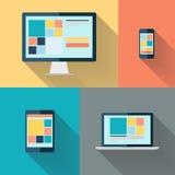 Desktop computer, laptop, tablet and smart phone on color background vector illustration. Stock Images