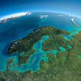 Detailed Earth. Europe. Scandinavia Stock Photography