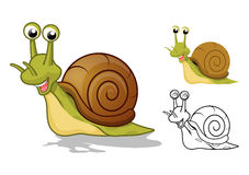 Detailed Snail Cartoon Character with Flat Design and Line Art Black and White Version Stock Photography