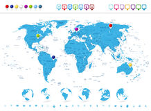 Detailed World Map with Globe Icons and Navigation Symbols Stock Images