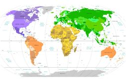 Detailed World Map Royalty Free Stock Photos