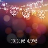 Dia de los muertos, Halloween card with lights, hand drawn ornamental sculls Royalty Free Stock Photos