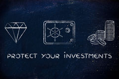 Diamant, Münzen und Safe mit Text schützen Ihre Investitionen Stockfoto