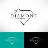 Diamond vector icon set  in line style. Logo design. Royalty Free Stock Image