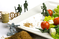 Diet and weight loss war with healthy food Stock Photos