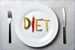 Diet written with vegetables in healthy nutrition concept Royalty Free Stock Photo