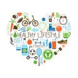 Dieta de la forma de vida y muestra sanas del corazón de la aptitud Fotos de archivo libres de regalías