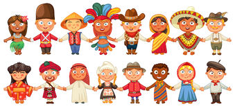 Different culture standing together holding hands Royalty Free Stock Image
