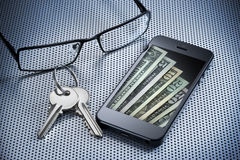 Digital Money Wallet Cell Phone Royalty Free Stock Photography