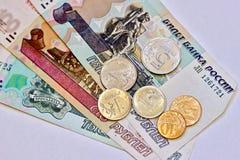 Dinheiro do russo - notas e moedas Imagem de Stock