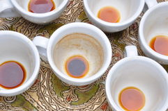 Dirty cups after coffee Stock Photo