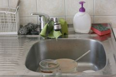 Dirty kitchen sink Stock Photography