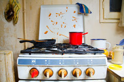 Dirty kitchen stove Royalty Free Stock Photos