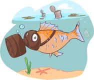 Dirty sea and fish Stock Photos