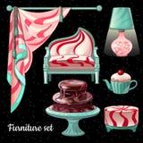 Diseño interior temático en la decoración del caramelo, 6 artículos Imagen de archivo