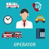 Dispatcher or operator profession icons Stock Photo