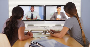 Diverse business colleagues holding a video conference meeting Royalty Free Stock Photography