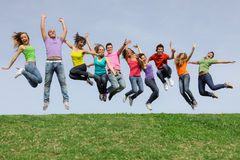 Diverse Group teens, teenagers jumping Stock Image