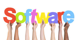 Diverse Hands Holding the Word Software Royalty Free Stock Images