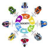Diverse People Using Computer with Society Concept Stock Photo