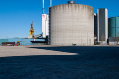 DLG building and silo in Aalborg harbor, Denmark Stock Image