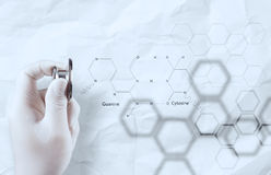 Doctor chemist hand showing chemical formulas Royalty Free Stock Images